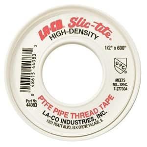 LA-CO 44084 Slic-Tite PTFE Pipe Thread Tape, Premium Grade [1200' Length, 1/2 Wide], White