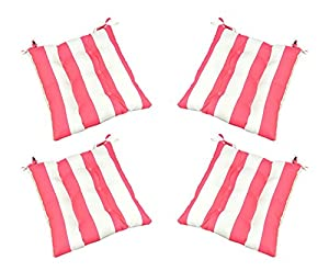 Set Of 4 Indoor Outdoor Preppy Pink And