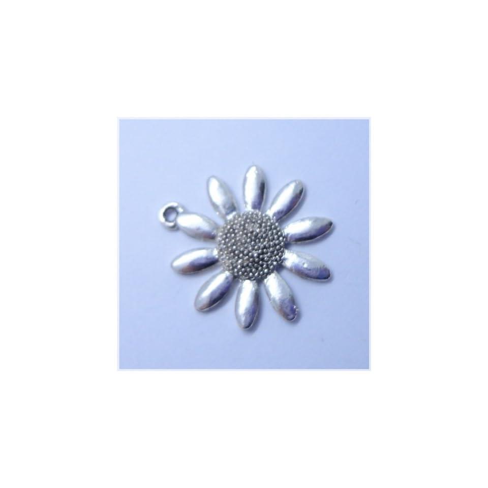 Tibetan silver Sunflower Flower Charm Pendant Beads Findings 5Pcs (25mm x 25mm)