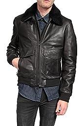 BLK DNM Blouson Leather Jacket , Color: Black, Size: M
