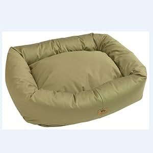 "West Paw Design Organic Bumper Stuffed Dog Bed Organic Cotton, Basil/Basil - Medium 28"" x 25"""