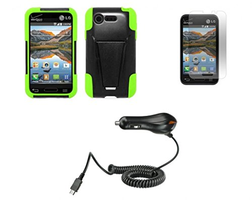 Lg Optimus Fuel / L34C (Straight Talk, Tracfone, Net 10) - Black/Neon Green Dual Layer Impact Defender Shockproof Armor Kickstand Cover Case + Atom Led Keychain Light + Screen Protector + Micro Usb Car Charger