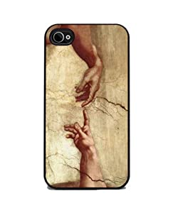 The Creation of Adam by Michelangelo - iPhone 4 or 4s Cover, Cell Phone Case - Black