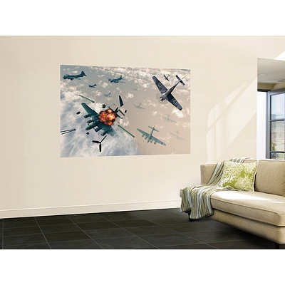 (48x72) Stocktrek Images- B-17 Flying Fortress Bombers Encounter German Focke-Wulf 190 Fighter Planes Huge Wall Mural