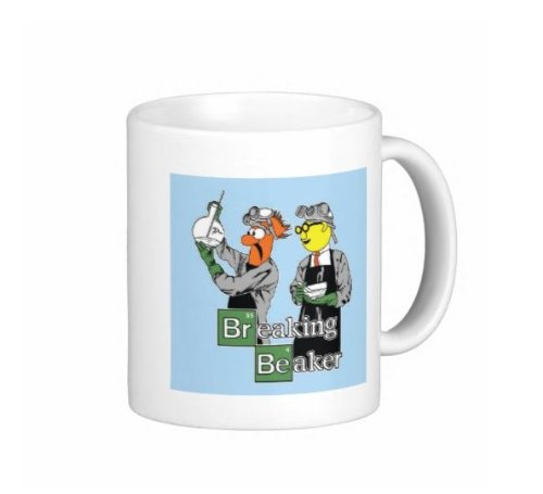 Pair Of 15 Ounce Breaking Beaker Coffee Mugs - Dishwasher And Microwave Safe - Breaking Bad Sesame Street Parody