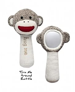"Classic Sock Monkey ""hug me"" Turn & See! Mirror Rattle"