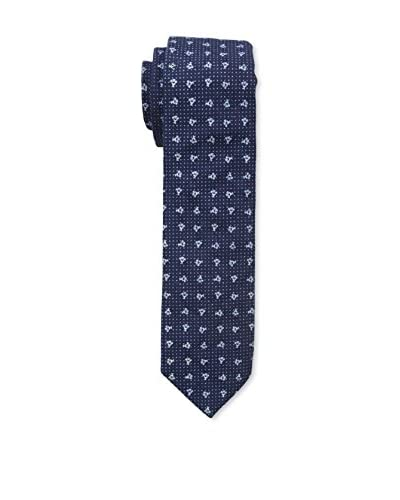J. McLaughlin Men's Dot and Flower Tie, Blue Dot Floral
