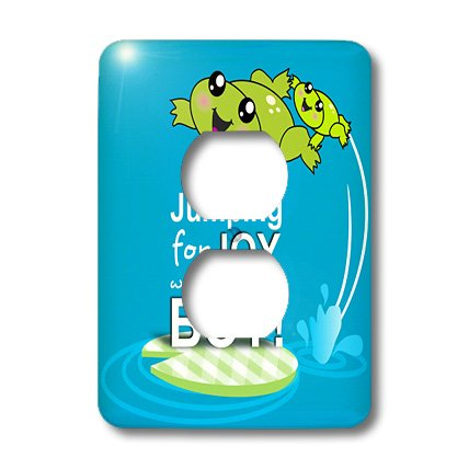 3Drose Llc Lsp_120313_6 Jumping For Joy Having A Boy Cute Green Frog Blue Baby Shower Its A Boy Kawaii Frogs Announcement 2 Plug Outlet Cover