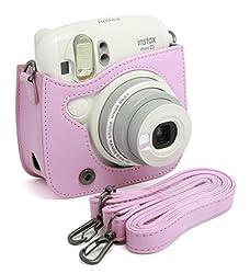 CAIUL PU Leather Instant Camera Case For Fujifilm Instax Mini 25 Instant Camera,Pink