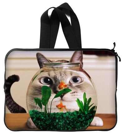 High Quality FUNNY HUMOR Cat looking at a goldfish bowl Water Resistant Neoprene Laptop Sleeve 13 Inch Handle Notebook Computer Bag Case Cover(Twin Sides)