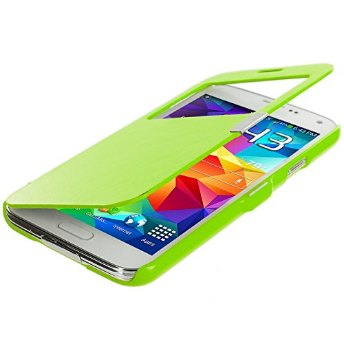Cell Accessories For Less (Tm) Neon Green (Open Front) Magnetic Wallet Case Cover Pouch For Samsung Galaxy S5 - By Thetargetbuys front-991756