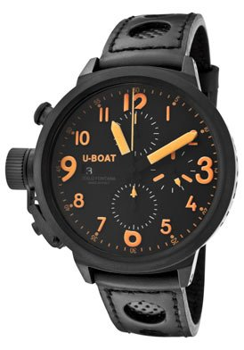 U-Boat Flight Deck CAB Automatic Chronograph Black Leather Mens Watch 6254