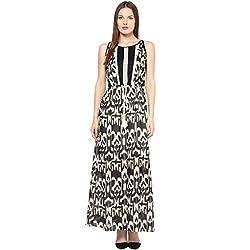 TAURUS WOMEN'S PEPLUM MAXI DRESS (CDR-1530-BLK-Medium)