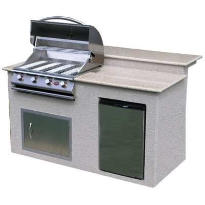 """72"""" BBQ Island 4 Burner Gas Grill With Granite Top"""
