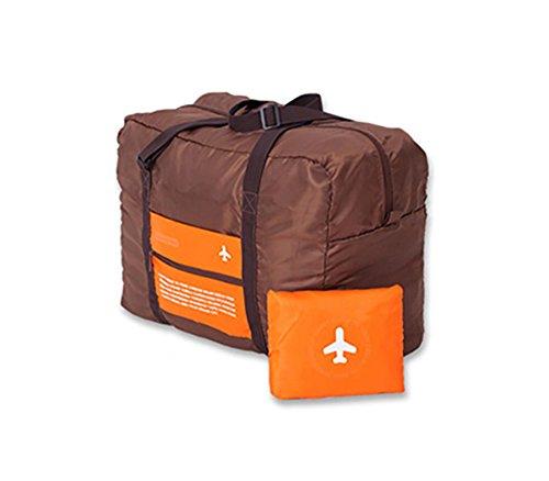 Borsa pieghevole da viaggio con custodia, bagaglio a mano compatto pieghevole - capacità 30 L - colore arancione e grigio