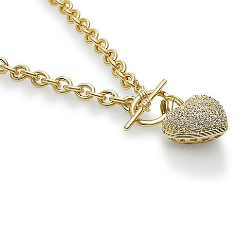 Mother's Day Gold Tone Puffed Heart Pendant Toggle Necklace