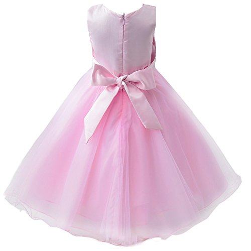 Mini kitty girl 39 s wedding dress gown bridesmaid tulle for Pink ruffle wedding dress