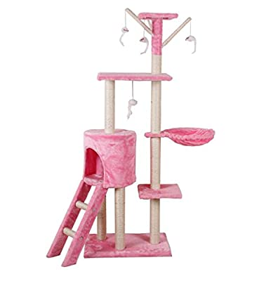 D2B Cat Tree Scratching Post Scratch Activity Center Scratcher Pole Bed Toys CAT001 (Pink)