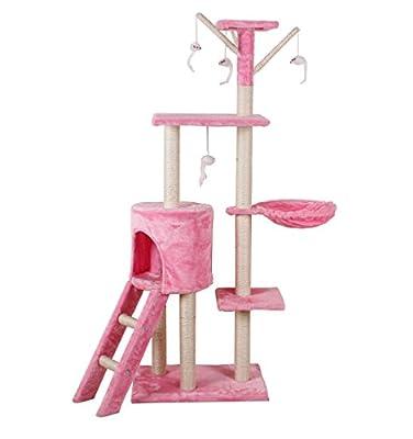 D2B Cat Tree Scratching Post Scratch Activity Center Scratcher Pole Bed Toys CAT001 (Pink)