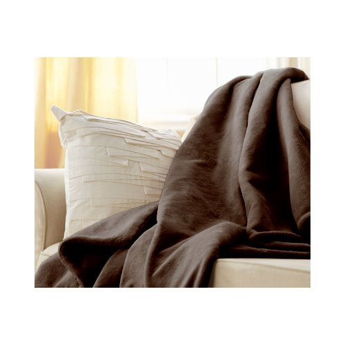 Discover Bargain Sunbeam Microplush Throw Camelot Cuddler Electric Heated Warming Blanket, Walnut Br...