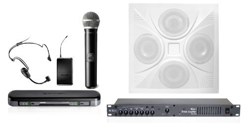 Wireless Boardroom Sound System 1 Ceiling Speaker, Mixer Amp, Dual Mic Wireless System