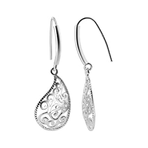 Sterling Silver 15mm x 22mm Fancy Paisley Design French wire Dangle Earrings