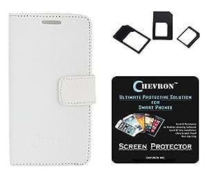 Chevron Premium Leather Corporate Class Flip Cover Case For Lenovo A6000 With HD Screen Guard & Multi Sim Adapter (White)