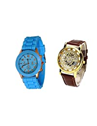 COSMIC COMBO WATCH- BLUE STRAP ANALOG WATCH FOR WOMEN AND BROWN ANALOG SKELETON WATCH FOR MEN