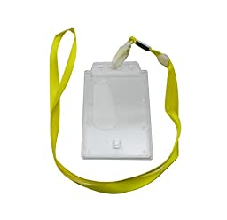 Ailisi Vertical Card Holder Neck Strap Lanyard Color Yellow Clip Pack of 10