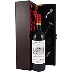 Chateau Junayme Bordeaux 1995 Vintage Wine presented in a silk lined wooden box with four wine accessories