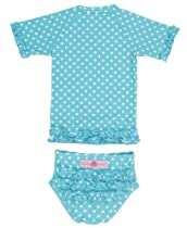 RuffleButts Aqua Polka Dot Ruffled Rash Guard Bikini - 12-18m