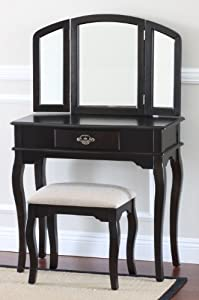 Queen Anne Style 3 Piece Makeup Vanity Set, Espresso - Solid Beige Seat