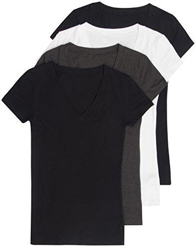4 Pack Lucky 21 Women's Basic Plus V-Neck Tees 1X Black, Black, White, Charcoal