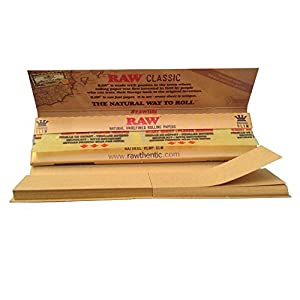 raw Raw King Size Slim Papers W/Roach Tips 5 Packs X 32