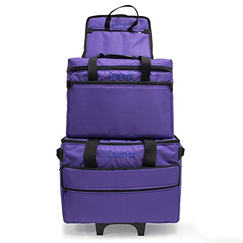 "Luova 19"" 3 Piece Rolling Sewing Machine Trolley Set in Purple"