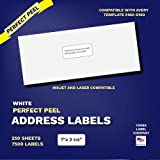 """Perfect Peel Address Labels and Mailing Labels for Both Laser and Inkjet Printers. Each Set Comes with 3000 Labels. 100 Total Sheets. Label Size Is 1"""" X 2-5/8. (Same Size As Avery® 5160)"""