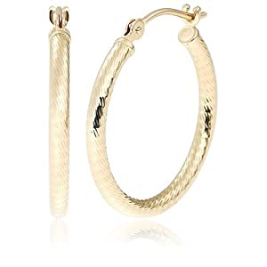 "Duragold 14k Yellow Gold Diamond-Cut Hoop Earrings, (0.8"" Diameter)"