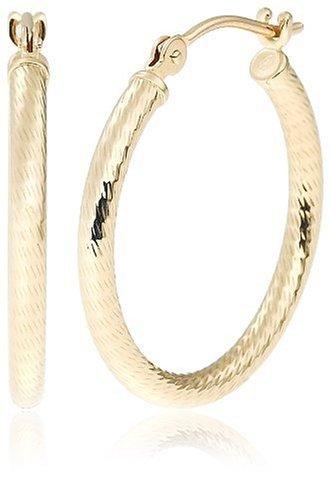 "Duragold 14k Yellow Gold Diamond-Cut Hoop Earrings, (0.8"" Diameter)"