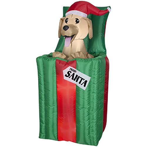 CHRISTMAS INFLATABLE 4.5' ANIMATED GOLDEN RETRIEVER PUPPY IN PRESENT