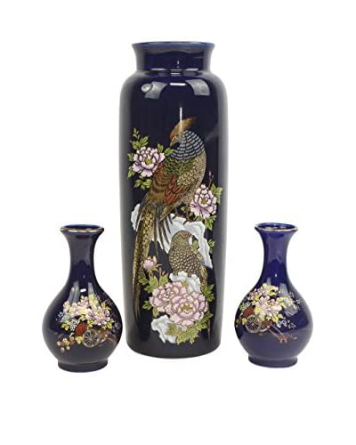 Set of 3 Hand-Painted Vases with Gold Detail, Dark Blue/Multi