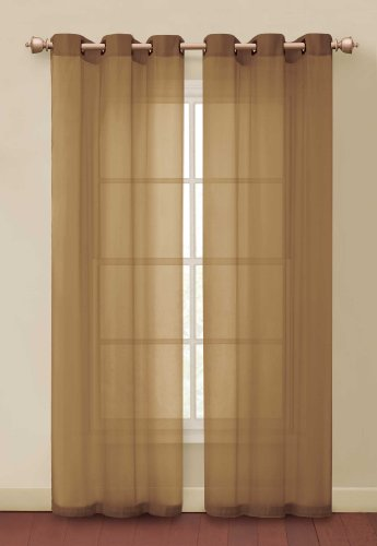 Carlson One Decorative Grommet Solid Taupe Sheer Window Top Curtain Panel made of 100% Polyester.