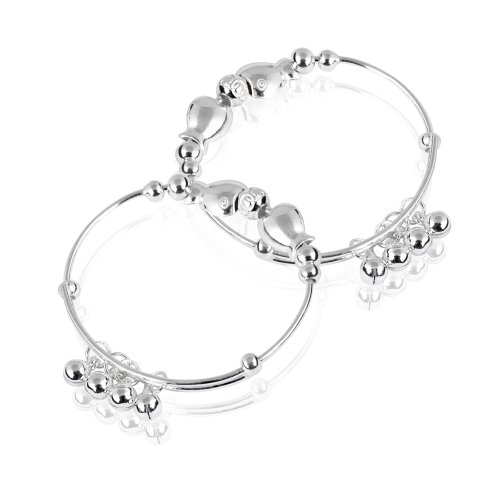 FASHION PLAZA Sterling Silver Baby Childrens Bracelet circumference Expandable 7 Inches(pair)Y2