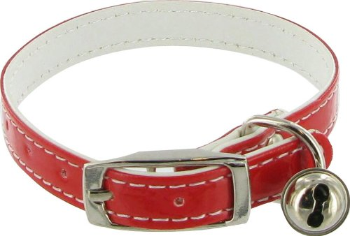 Dog or Cat Collar with Bell &#8211; Red, 3/8&#8243; x 12&#8243;