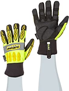 Maximum Safety 120-4070/M Mad Max Thermo Professional Winter Workmans Gloves with Synthetic Leather Palm and Thinsulate Lining, Lime Yellow/Black, Medium