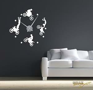 wandtattoo uhr mit uhrwerk wanduhr motorrad sport motocross stunts deko f r jugendzimmer amazon. Black Bedroom Furniture Sets. Home Design Ideas