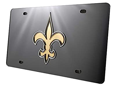 New Orleans Saints Deluxe Mirrored Laser Cut License Plate
