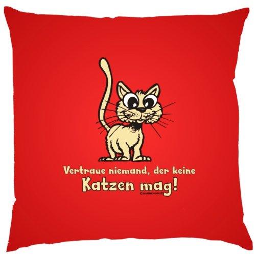 Kissen mit Innenkissen - Vertraue niemand, der keine Katzen mag. - Katzenfreunde - 40 x 40 cm - in rot