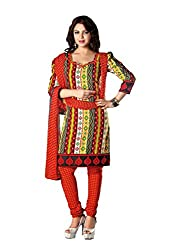 RUDRA FASHION WOMEN'S RED COTTON SALWAR SUIT DRESS MATERIAL WITH COTTON DUPATTA.DS-2102