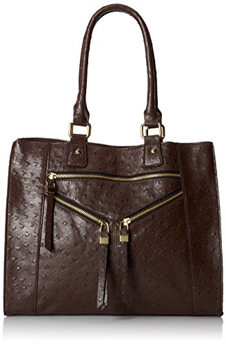 DEL MANO Faux Ostrich Satchel Cross Body Bag, Brown, One Size