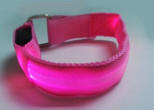 LED Armband LED Safety Armband Cycling Jogging Walking Reflective LED Armband (6 Colors) (Pink)